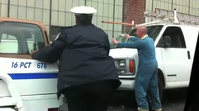 Crazy guy saws parking meter in half