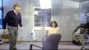Bill Gates leaps over chair
