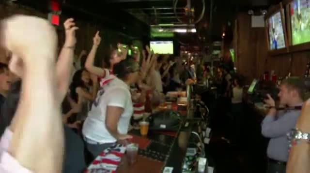 Raw Image - NY Soccer Fans Celebrate U.S. Gold