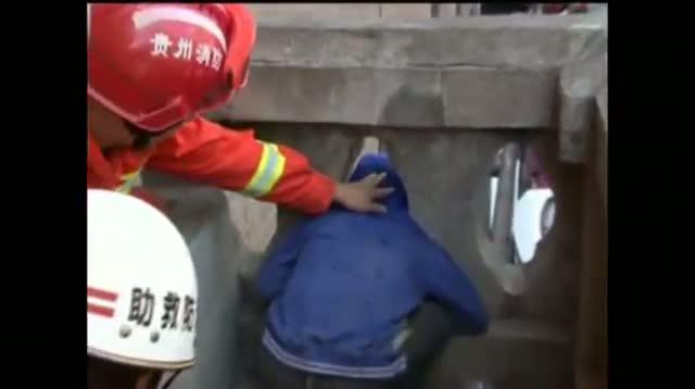 Raw Video - Boy Stuck in Stone Balcony Freed