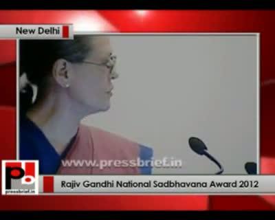 Sonia Gandhi addresses Rajiv Gandhi Sadbhawana Award presentation ceremony