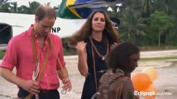 William and Kate greeted by topless dancers in Solomon Islands