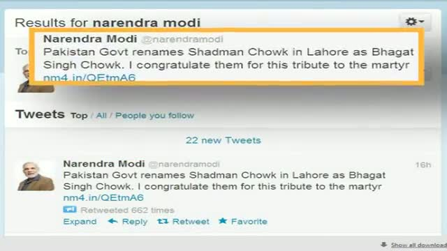 Modi congratulates Pak for renaore chowk after Bhagat Singh