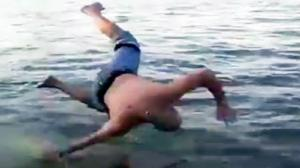 Dude Faceplants Attempting Going Into River