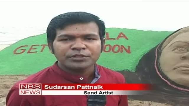 Sand sculpture by Sudarsan Pattnaik Get well soon Malala