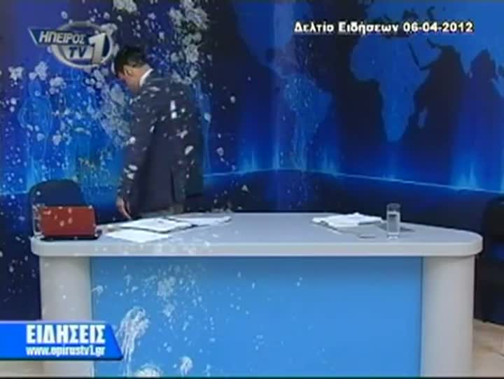Greek Newscaster Egged by Protesters on Live TV