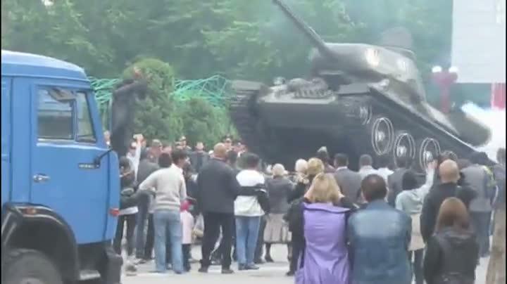 Russian Tank Flips Over