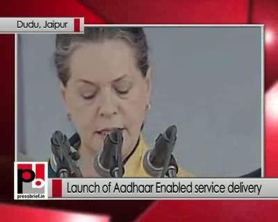 Sonia Gandhi at the Aadhaar function recalls Rajiv Gandhi's contribution