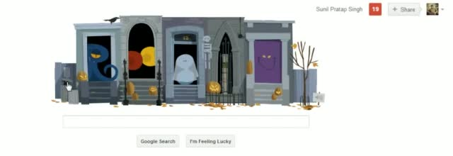 Happy Halloween! Wish Via Scary Ghost Costume House Game [Google Doodle, 31 October 2012.]