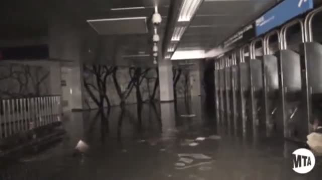 Raw - Sandy Leaves NYC Subways Flooded