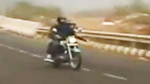 Bridge to Motorcycle Frisbee Trick Shot
