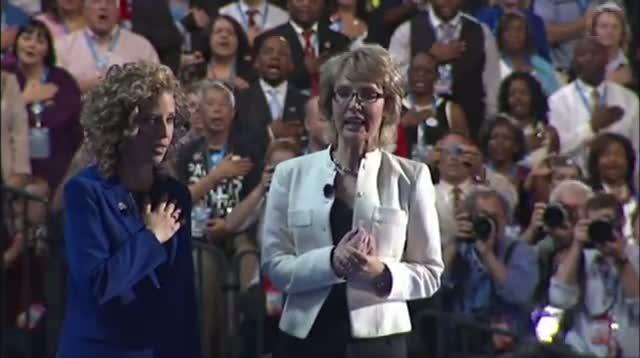 Raw Video: Gabby Giffords Leads Pledge at DNC