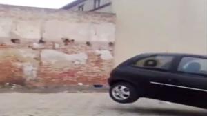 Little Car Helps Demolish Wall