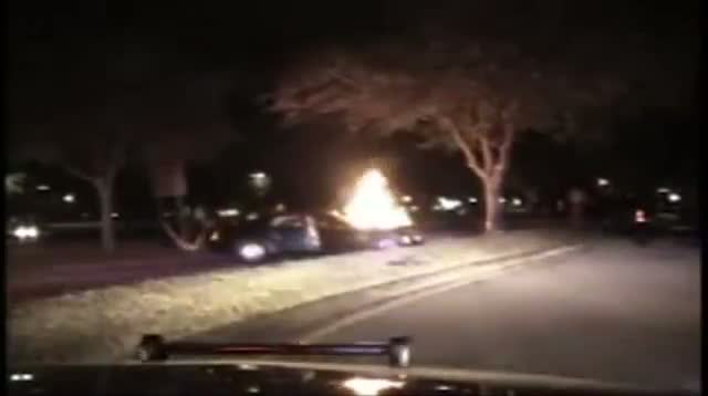 Raw - Three People Pulled From Burning Car
