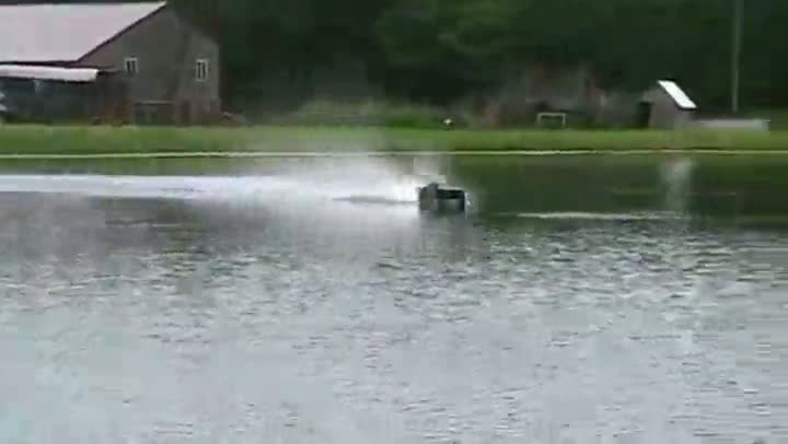 Fast Remote Controlled Car Skims Pond