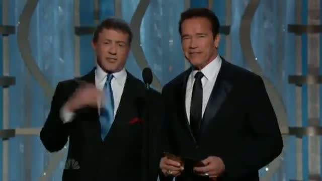 Golden Globes: Arnold Schwarzenegger and Sylvester Stallone play fight on stage