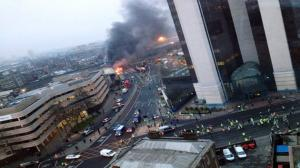 Helicopter Crash Near Vauxhall - Scene of a Helicopter Crash VIDEO