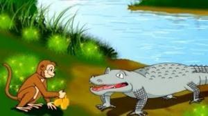 Bandar Aur Magarmach - Tales & Tales - Hindi - Animated Story For Kids
