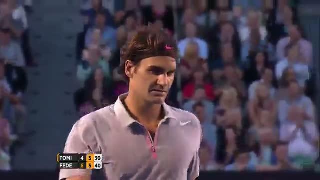 Federer Amazing Backhand - Australian Open 2013