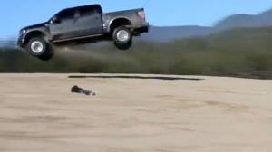 Ford Raptor Pickup Truck Jumps Over A Man