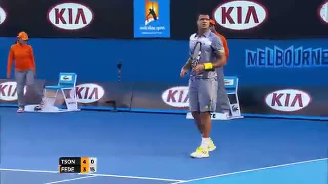 Australian Open 2013 - Tsonga Shank Caught In Crowd