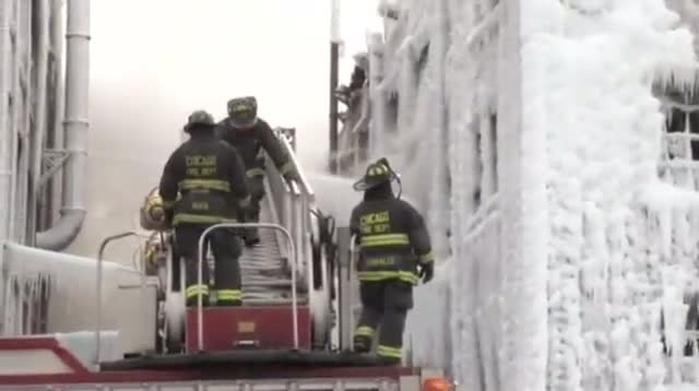 Raw - Warehouse Caked in Ice After Blaze
