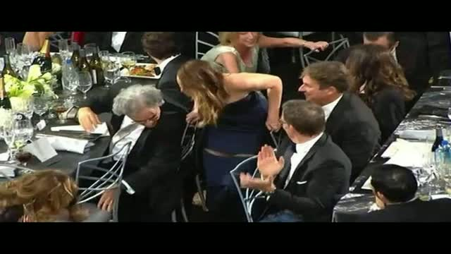 Jennifer Lawrence SAG Awards Rips Her Dress As She Walks On Stage to Accept Awards for best actress