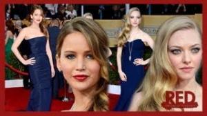 Jennifer Lawrence and Amanda Seyfried - Navy Trend SAG Awards 2013