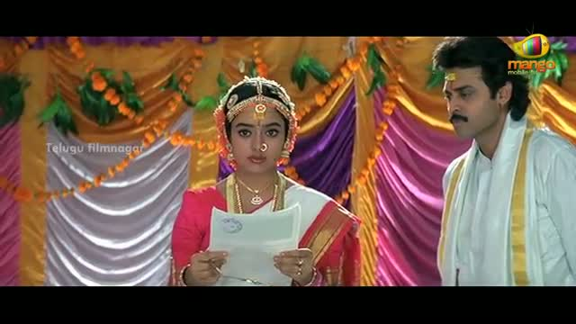 Pavitra Bandham Scenes - Soundarya signing the marriage contract with Venkatesh - Venkatesh, Soundarya - Telugu Cinema Movies