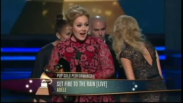 Grammys 2013: Adele receives Grammy from 'good-luck charm' J.Lo