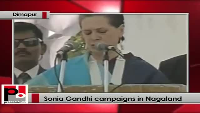 Sonia Gandhi addresses Congress rally in Nagaland