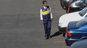 Parking Lot Attendant Forgets The Handbrake