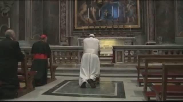 Pope Francis Prays at John Paul II's Tomb