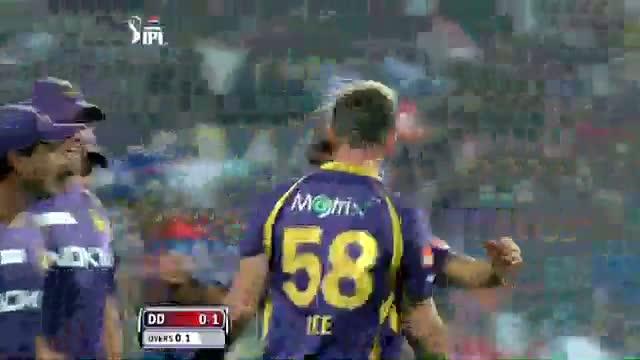 Unmukt Chand Bowled on First Ball - DD vs KKR - PEPSI IPL 6 - Match 1