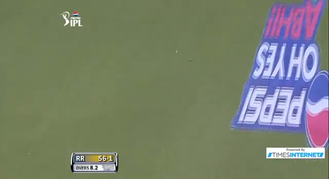 Four hit by A Rahane off Andre Russell in over 8.3 Inning - DD vs RR - PEPSI IPL 6 - Match 4
