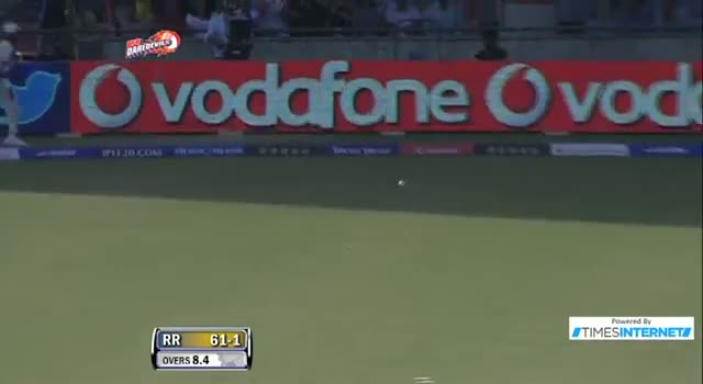 Four hit by A Rahane off Andre Russell in over 8.4 Inning - DD vs RR - PEPSI IPL 6 - Match 4