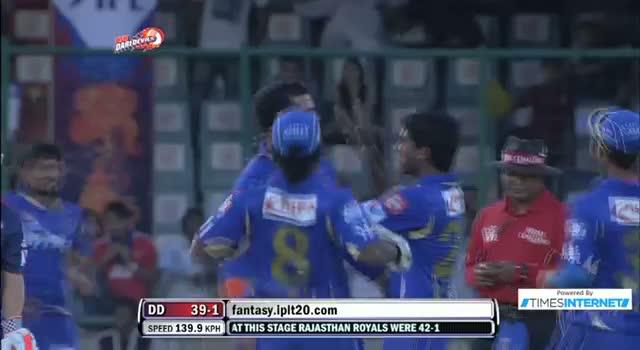 Wicket of Unmukt Chand taken by S Sreesanth - DD vs RR - PEPSI IPL 6 - Match 4