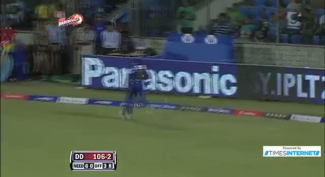 Four hit by David Warner off Kevon Cooper - DD vs RR - PEPSI IPL 6 - Match 4