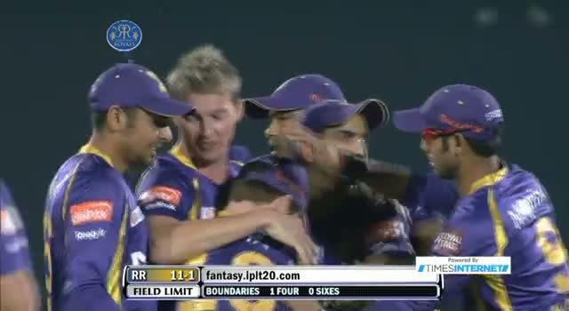 Wicket of Shane Watson taken by Brett Lee - RR vs KKR - PEPSI IPL 6 - Match 8