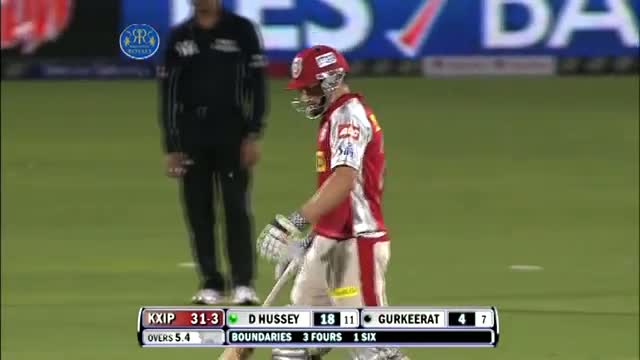 1st Inning Outstanding Batting by David Hussey - RR vs KXIP - PEPSI IPL 2013 - Match 18