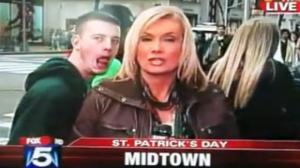 Drunk Guy Harasses News Reporter