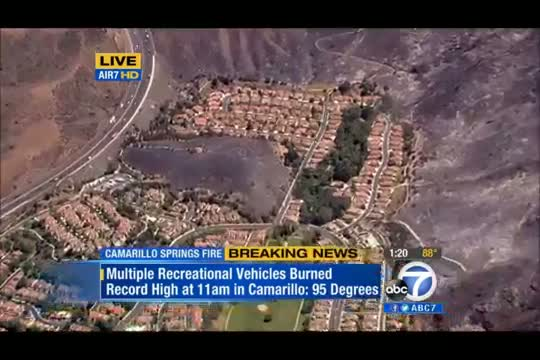 Camarillo Springs Fire at 8,000 Acres, only 10 Percent Contained; Air Quality Concerns