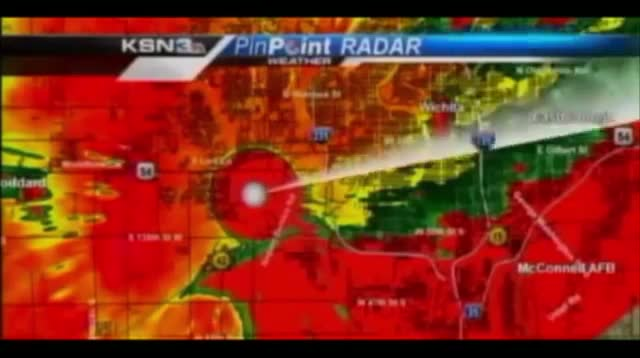 TV Staff Take Cover From Tornado