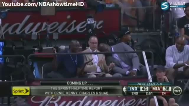 Shaq having a Short Nap - Pacers vs Heat - May 24, 2013 (Game 2) - NBA Eastern Finals 2013