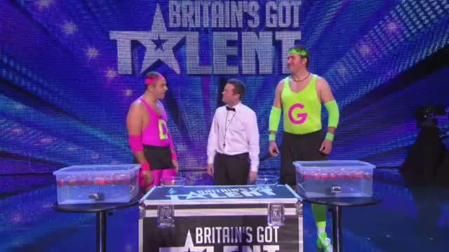David Walliams gets fruity in the final David V Goliath - Britain's Got More Talent 2013