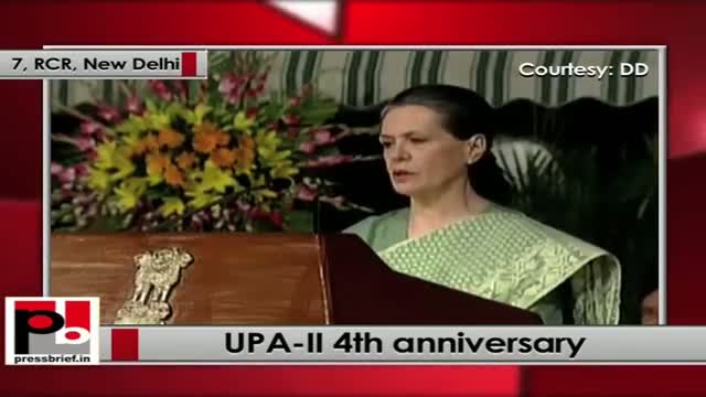 Sonia Gandhi addresses the UPA-II, 4th anniversary function at PM residence