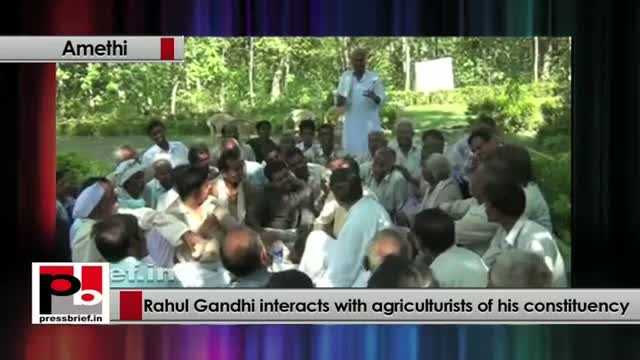 Rahul Gandhi interacts with agricultrists of his constituency
