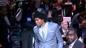 NBA Draft: Lucas 'Bebe' Nogueira shows off his Afro on draft night!