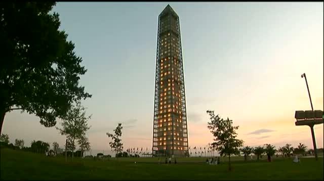 Washington Monument Lit Up During Repairs