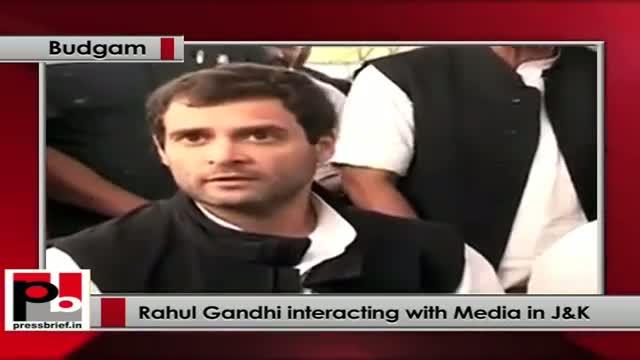 Rahul Gandhi interacting with Media in Bugdam (Srinagar)